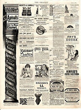 """OLD SHIRTS, TEETH, BABIES,COCOA - """"GRAPHIC"""" SMALL ADS READY FOR FRAMING (1889)"""