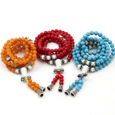 3Pcs Orange Red Cyan Gemstone Tibet Buddhist 108 Prayer Beads Mala Necklace
