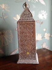 Large Rectangular Moroccan Lantern. Ivory + gold