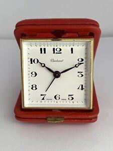 BUCHERER Vintage Travel Alarm Clock WORKS! Antique Swiss Mechanical NO RESERVE!