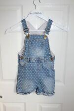 Girls Denim Blue Dungarees Age 4-5 Love Hearts