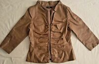 Theme Soft Golden Brown Faux Leather Jacket Coat Gathered Front 3/4 Zipper Small