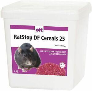 RatStop DF Cereals 3kg Difenacoum Rattengift Weizenköder Mäusegift < 0,0029%