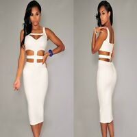 Sz 8 10 White Cut-out Sleeveless Formal Cocktail Party Club Slim Fit Midi Dress