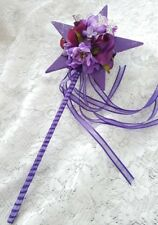 Flower-girl Floral Wand - Purple Star Wand with Butterflies for Flower Girl Wand
