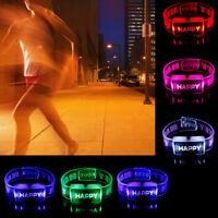 Sprachaktivierte Soundkontrolle Led Flashing Armband Bangle Armband Nacht KW G3D