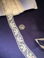 "Old Antique Bobbin Lace Trim Edging Good for Dolls Inserts Baby Bonnets Etc 3/4"""