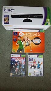 Microsoft Xbox 360 Kinect Sensor / Active 2 And Games New