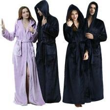 Mens Ladies Flannel Hooded Bathrobe Towelling Bath robe Dressing Gown Long Robe