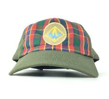 Boy Scouts of America Olive Plaid Baseball Cap Hat SnapBack Boys Sz Made In USA