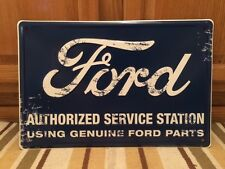 Ford Embossed Metal Genuine Parts Metal Vintage Style Garage Man Cave Mustang