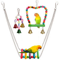 3pcs Bird Ladder Swing Toys Play Set fun Colorful Hanging Bells for Bird Cages