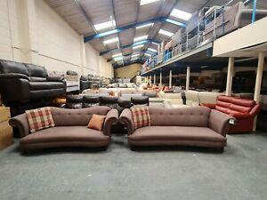 DFS Moray brown fabric 4+3 seater sofas