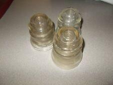 Telephone pole insulators 3 pieces vintage Hemingray clear glass models 45
