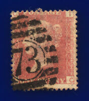 1864 SG43 1d Red Plate 73 G1 IC Misperf London '73' Good Used cnjo