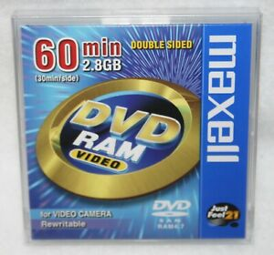 Maxell DVD RAM Video 60 Min 2.8GB For Video Camera Rewritable Double Sided New