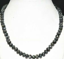 "5x8mm faceted black gray Labradorite gemstone abacus necklace 18""JN55"