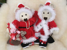 PAPER KNITTING PATTERN TO MAKE YOUR OWN SANTA TEDDY BEARS WITH CHRISTMAS OUTFITS