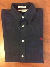 55117806e51 H   M Boy s Long Sleeve Dark Wash Blue Denim Button Down Shirt Size 12-