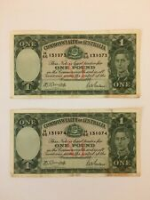 Rare: 2 Consecutively Numbered 1942 Australia £1 Notes; Vf