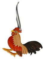 Rooster - Double-sided Wood Intarsia Christmas Tree Ornament - Male Bird theme