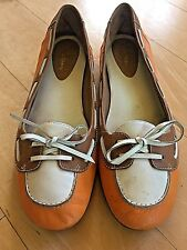 COLE HAAN Orange White Brown Laced Boat Shoes Tie Flats NIKE AIR Soles 8.5 B lot