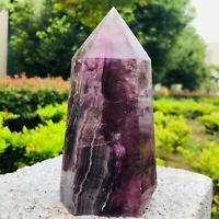 1.87LB  Natural Fluorite Obelisk Quartz Crystal Healing Reiki Wand Tower Point