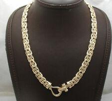 "18"" Technibond  Byzantine Chain Necklace Black Onyx Yellow Gold Clad Silver"