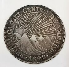 NGC-AU55 1842NG MA CENTRAL AMERICAN REPUBLIC 8REALS SILVER TONED AUNC