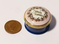 Halcyon Days Enamel Pill Trinket Box WITH LOVE Boxed, Screw Lid  Ex Bruhl