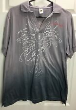 ED HARDY WOMEN'S XL Gray Silver TIGER COTTON S/S Collared V-NECK T-SHIRT