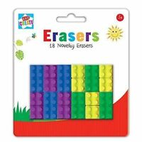 18 Novelty Pencil Erasers Shape of Lego Brick Rubbers Party Bag Filler Gift kids