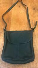 Vintage Hunter Green Leather Shoulder Bag Zipper Closure Flap