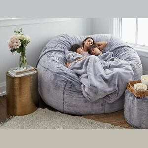 Giant Fur Bean Bag Cover Big Round Soft Fluffy Faux Fur BeanBag Lazy Sofa Bed Co