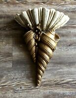 Vintage wall decor Large Golden Shells White Clam Shell for trinkets Mermaid