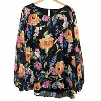NEW INVESTMENTS Black Orange Blue Floral Stripe Long Sleeve Polyester Blouse 2X