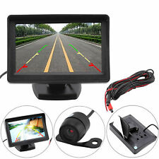 LCD Car Rear View Monitor Wired Reverse Waterproof Wide Angle Camera Kit w6