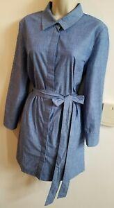 New Stunning Cotton Denim Size 10 Shirt Dress Belted