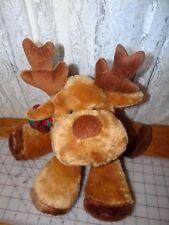 "Russ Berrie Balsam Brown Reindeer stuffed bean bag feet plush 15"" w Scarf"
