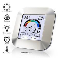 Thermomètre Hygromètre Numérique Température Humidité Max/Min Rétroéclairé Heure