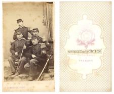 Bertholet Yverdon, officiers CDV vintage albumen carte de visite, Tirage album