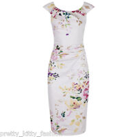 PRETTY KITTY 40s PINK FLORAL WIGGLE PENCIL COTTON VINTAGE COCKTAIL DRESS 8-18