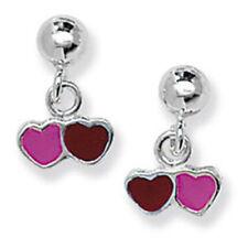 Pendientes de joyería mariposas rosa de plata de ley