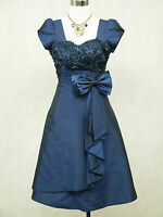Cherlone Satin Dark Blue Prom Ball Party Cocktail Lace Evening Bridesmaid Dress