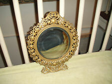 Antique Victorian Style Beveled Glass Wall Mirror-Gilded Brass Frame-Detailed