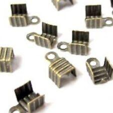 100 x Bronze Tone Folding Crimps Connectors -A6564
