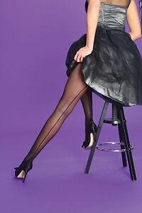 Silky Seamer Scarlet Back Seam Seamed Tights Retro Burlesque Black  Large