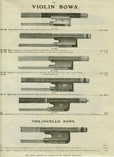 Catalog Page Ad Violin Bows Strings Bone Slide Violoncello Pearl bags Cases 1907