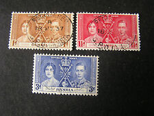 *GAMBIA, SCOTT # 129-131(3). COMPLETE SET 1937 CORONATION ISSUE USED