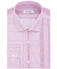 $175 CALVIN KLEIN Men SLIM-FIT WHITE PINK STRIPE LONG-SLEEVE DRESS SHIRT 17-17.5